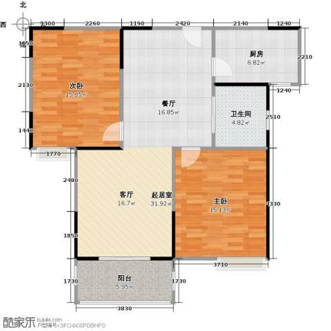 美生中央广场2室0厅1卫1厨86.00㎡户型图