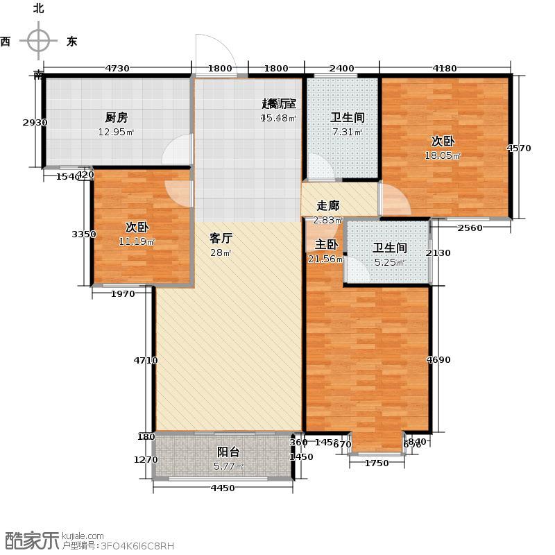 荣世星座138.00㎡E1 都市峰景户型3室2厅2卫