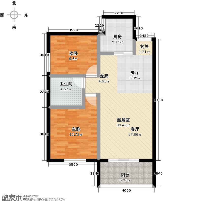 泰业国际广场6#B-两室两厅一卫户型