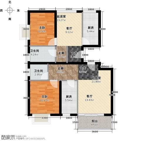 临沂清华苑2室0厅2卫2厨110.00㎡户型图