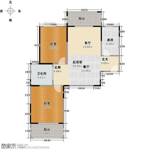 美生中央广场1卫1厨92.00㎡户型图