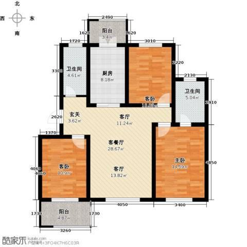 天津未来城3室1厅2卫1厨118.00㎡户型图