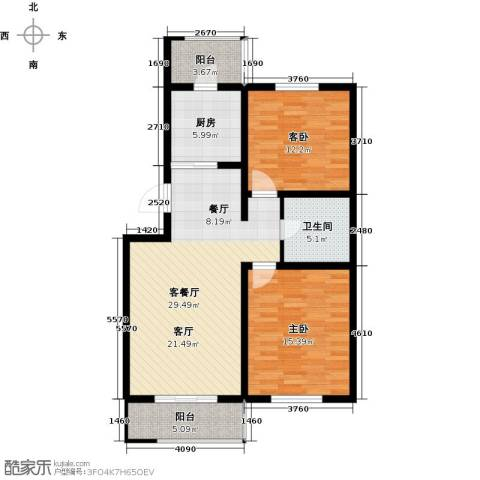 天津未来城2室1厅1卫1厨91.00㎡户型图