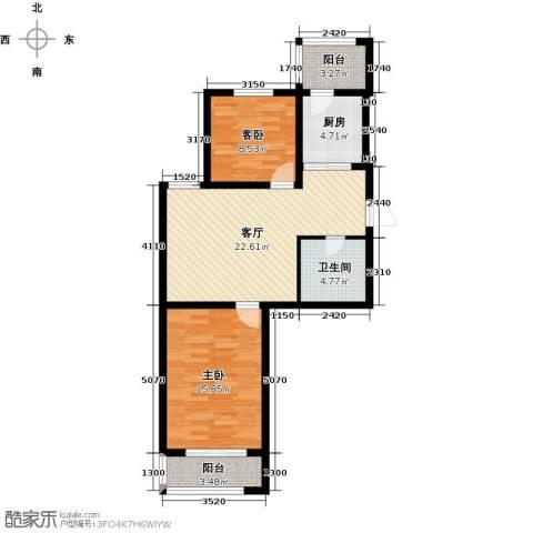天津未来城2室1厅1卫1厨83.00㎡户型图