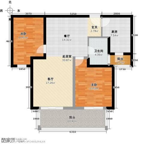 中海御湖公馆二期2室0厅1卫1厨95.00㎡户型图