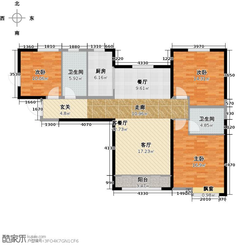 中海河山郡户型3室1厅2卫1厨