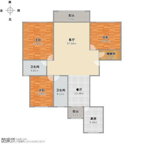 西班牙名园3室1厅2卫1厨197.00㎡户型图