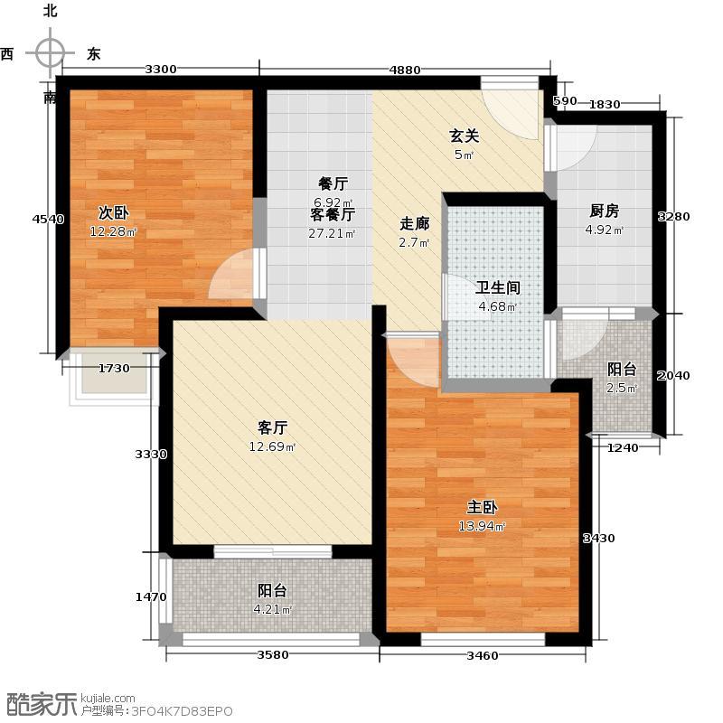 中渝国际城户型2室1厅1卫1厨