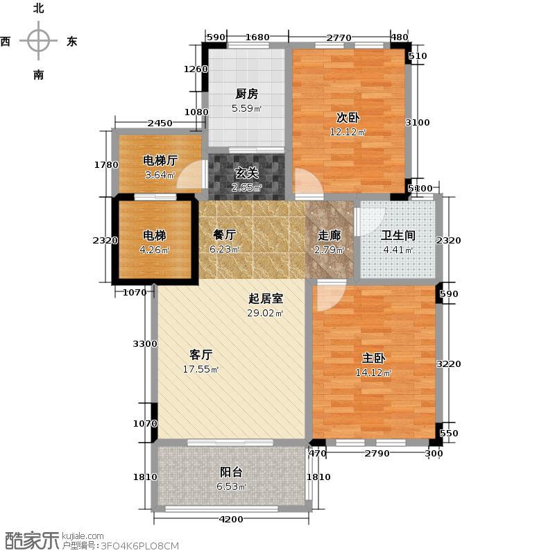 文景苑户型2室1卫1厨