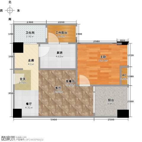 AIP中航・国际交流中心1室1厅1卫1厨58.00㎡户型图
