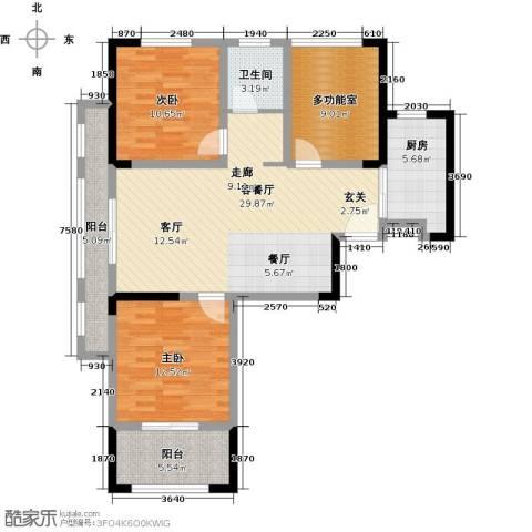 伟业迎春乐家2室1厅1卫1厨95.00㎡户型图