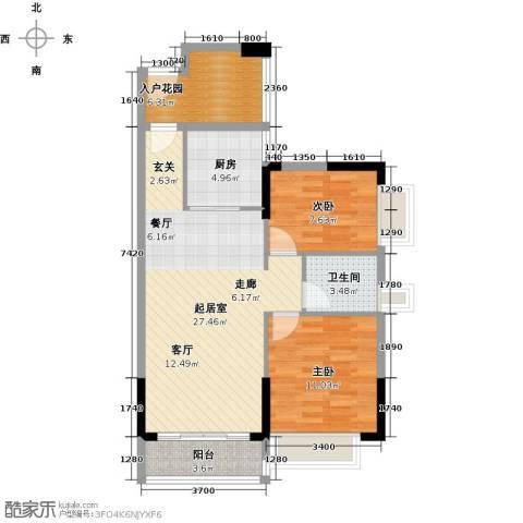 东海岸花园2室0厅1卫1厨81.00㎡户型图