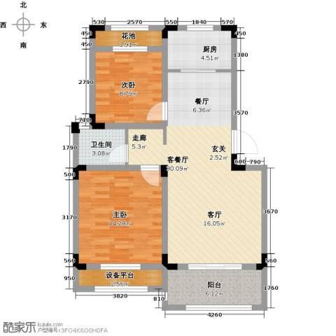 伟业迎春乐家2室1厅1卫1厨83.00㎡户型图