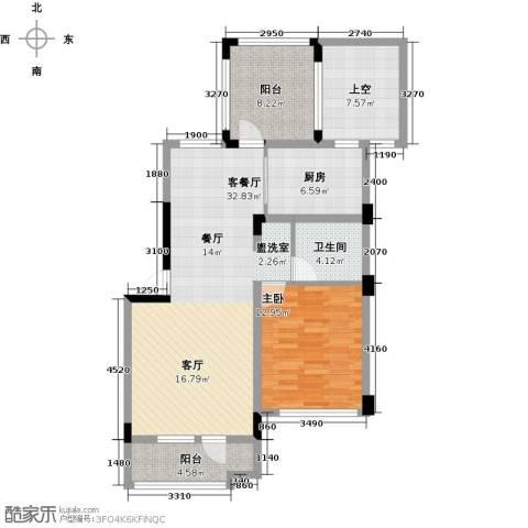 中铁・人杰水岸1室1厅1卫1厨76.87㎡户型图
