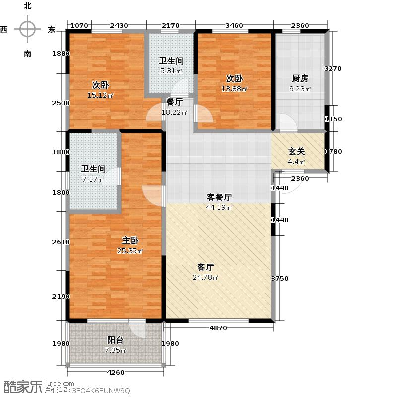 朗诗绿色街区18#D\'户型3室1厅2卫1厨