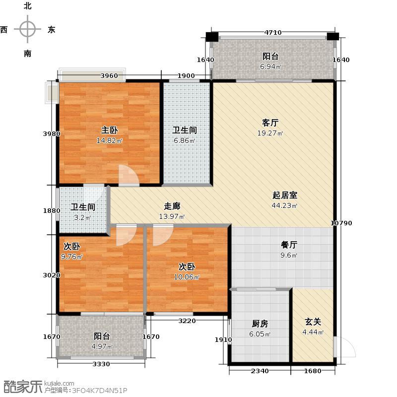 宏城名居户型3室2卫1厨