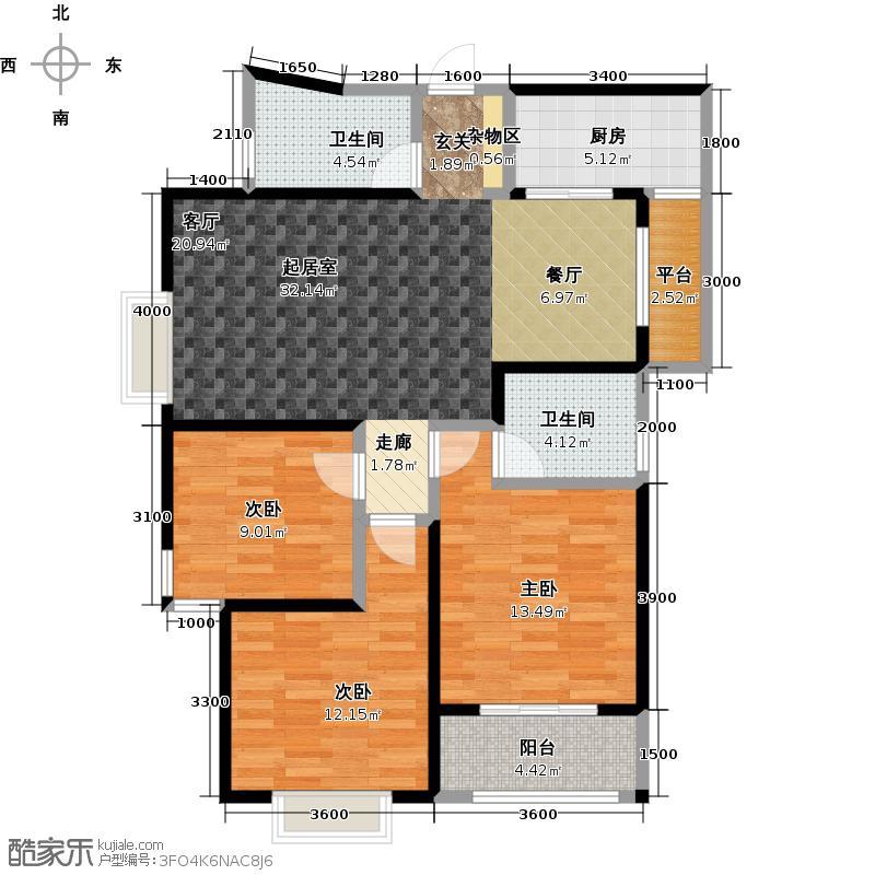华洲城熙悦都108.74㎡7 10号楼3室2厅2卫108.74平米A户型3室2厅2卫