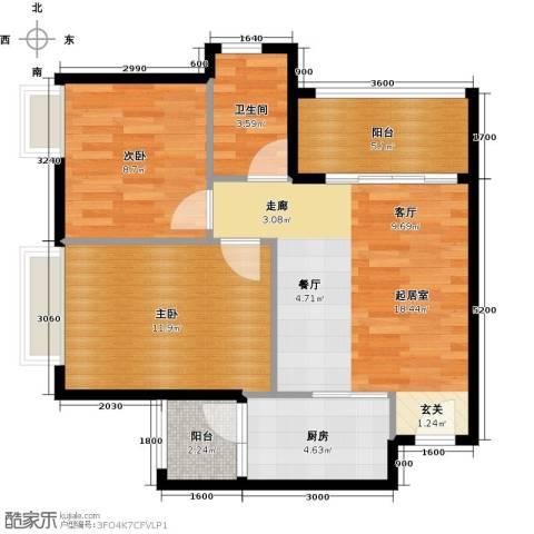 三角科尔玛城2室0厅1卫1厨68.00㎡户型图
