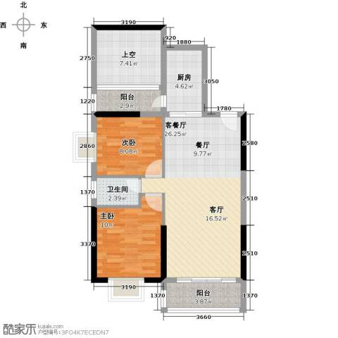 花香四季・雅苑2室1厅1卫1厨75.54㎡户型图