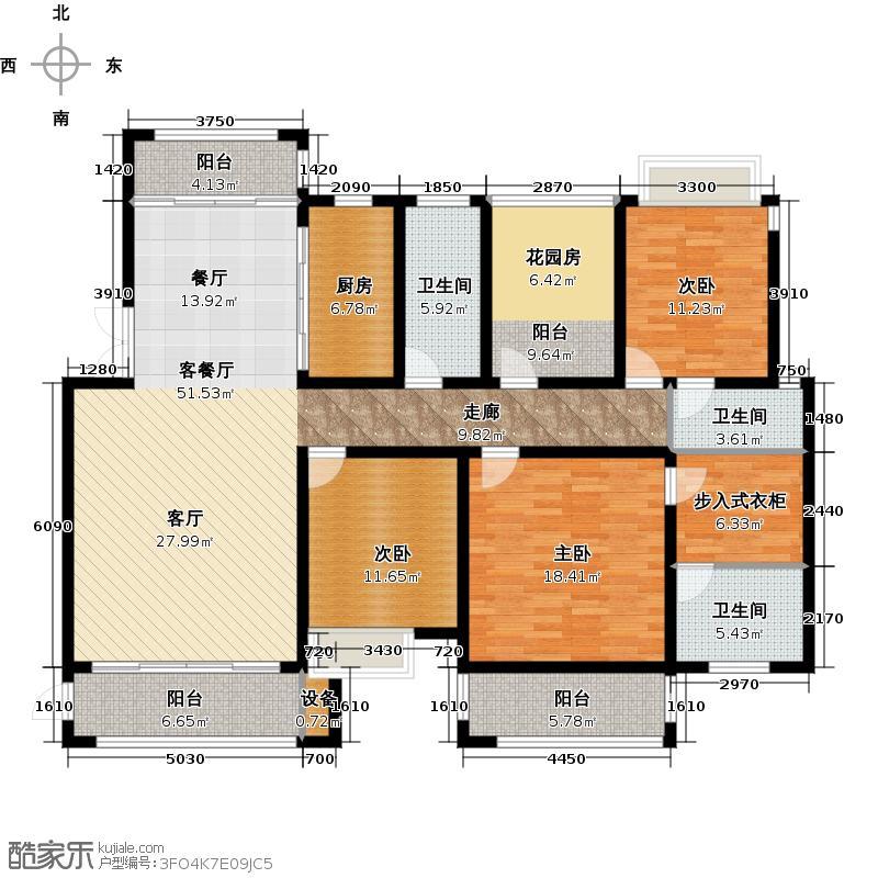 南阳凯�清华园户型3室1厅3卫1厨