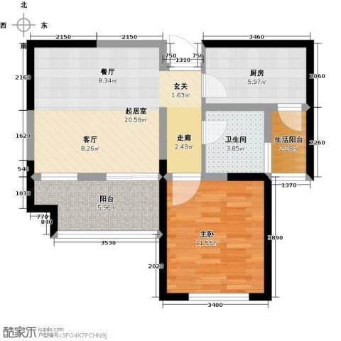 财信圣堤亚纳1室0厅1卫1厨59.00㎡户型图