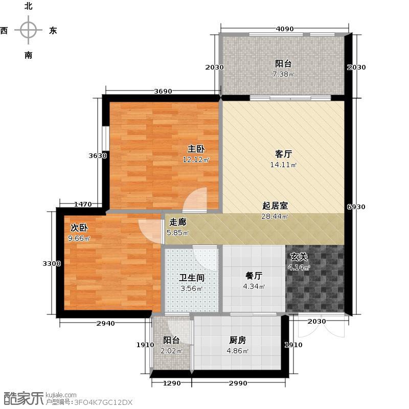 太平洋国际社区79.00㎡A1a户型2室2厅1卫