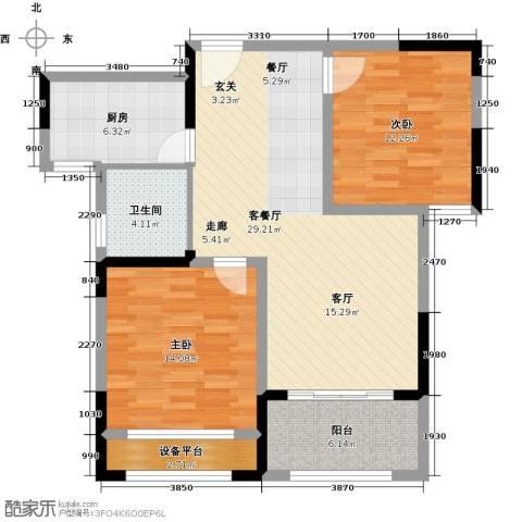 伟业迎春乐家2室1厅1卫1厨86.00㎡户型图