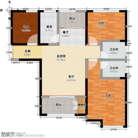 财信圣堤亚纳3室0厅2卫1厨136.00㎡户型图
