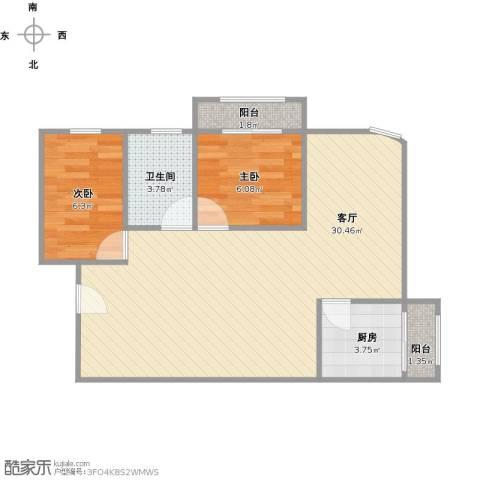 中海瀛台2室1厅1卫1厨73.00㎡户型图