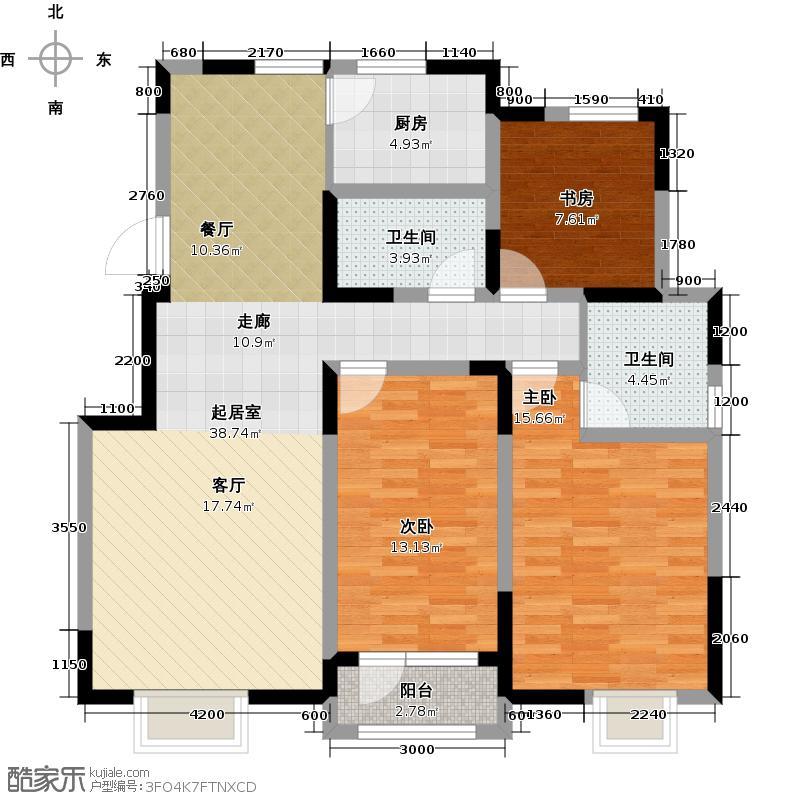 首创城127.00㎡C户型3室2厅2卫