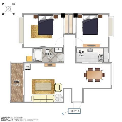水岸观邸1室1厅1卫1厨91.00㎡户型图