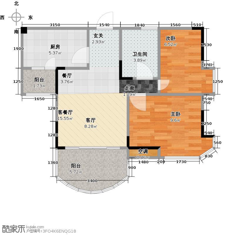 碧桂园清泉城83.86㎡【花园里】4号、8号楼三至十八层02单元 二房二厅户型2室2厅1卫