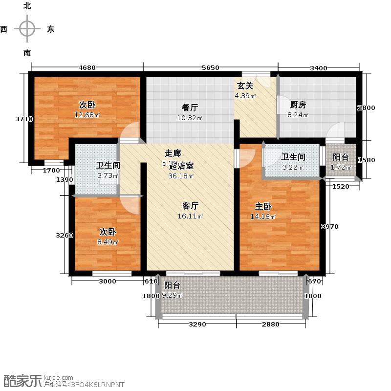 中海御湖公馆二期115.00㎡三室两厅两卫户型3室2厅2卫