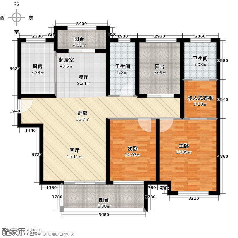 香溢澜桥130.00㎡高层c 2+1户型3室2厅2卫