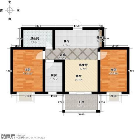 天赐康缘新区2室1厅1卫1厨90.00㎡户型图