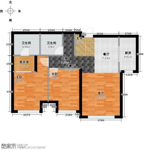 乾瑞・嘉山墅2室1厅2卫1厨96.00㎡户型图