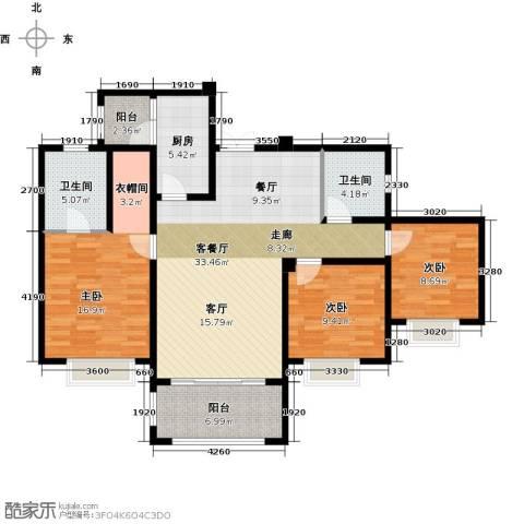 锦城南府3室1厅2卫1厨123.00㎡户型图