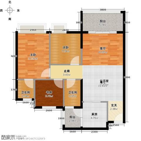 三角科尔玛城3室0厅2卫1厨87.00㎡户型图