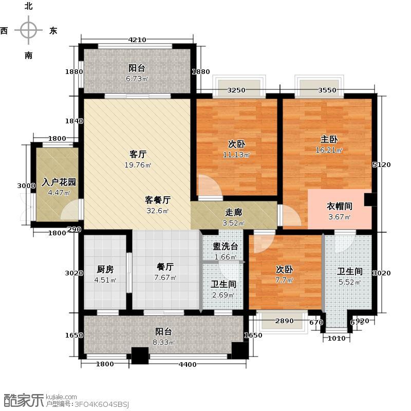 锦城南府124.00㎡(平层)D户型、三室两厅两卫、D1建筑面积124平米、D2建筑面积126平米户型3室2厅2卫