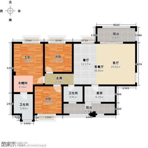 锦城南府3室1厅2卫1厨136.00㎡户型图