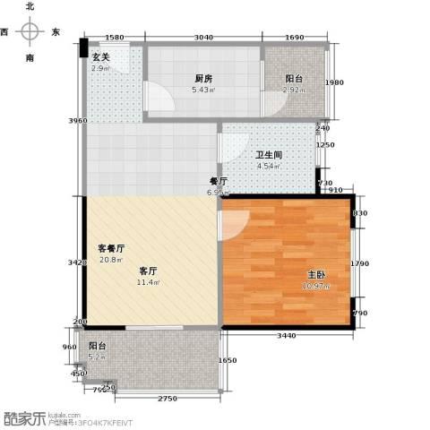 东山滨海湾花园1室1厅1卫1厨68.00㎡户型图