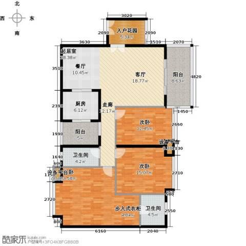 富盈东方华府三期紫峰3室0厅2卫1厨174.00㎡户型图