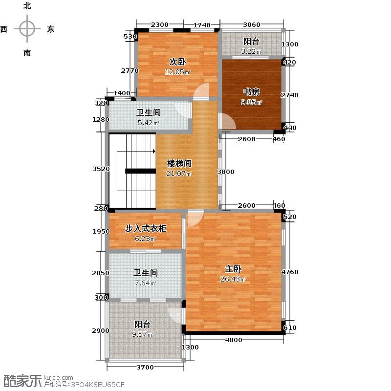 武汉锦绣香江A01双拼别墅二层户型3室2卫