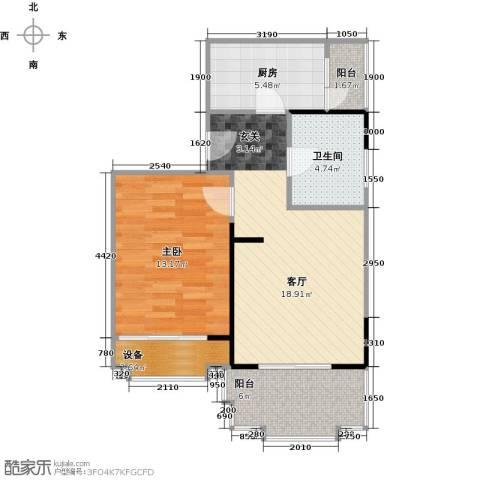 东山滨海湾花园1室1厅1卫1厨72.00㎡户型图