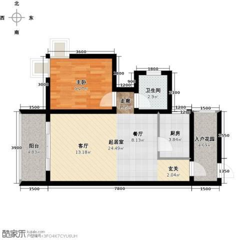 海南东方锦绣蓝湾1室0厅1卫1厨73.00㎡户型图
