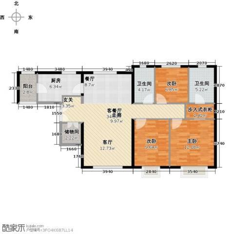 天津津南新城3室1厅2卫1厨120.00㎡户型图
