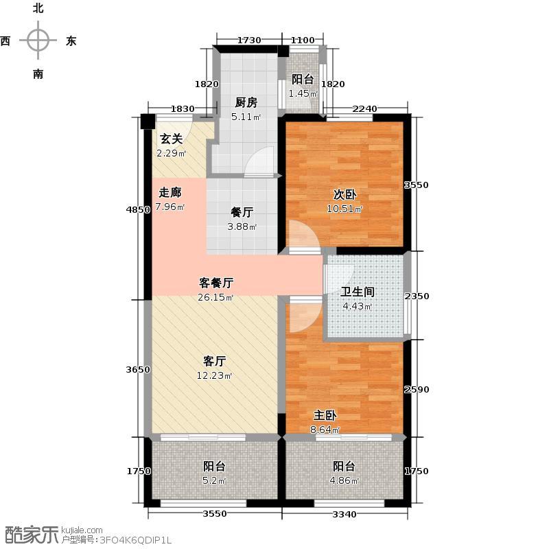 中铁缇香郡78.00㎡78平米两室两厅一厨一卫户型