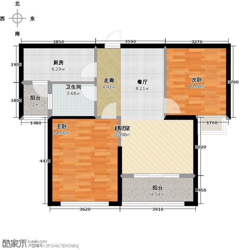 金色港湾94.02㎡色港湾五期1号楼 1单元2号房 两室两厅一卫 94.02平米户型2室2厅1卫