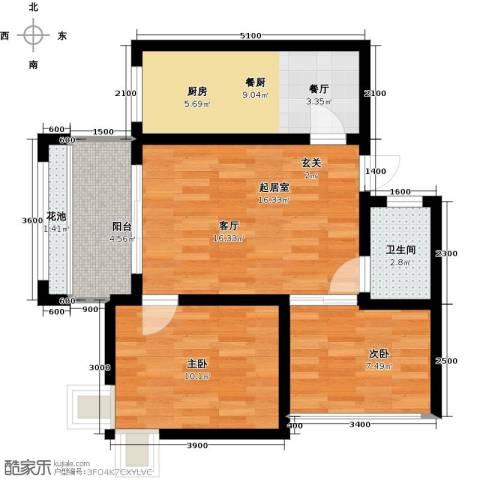 海南东方锦绣蓝湾2室1厅1卫0厨76.00㎡户型图