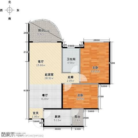 碧桂园・天玺湾2室0厅1卫1厨79.00㎡户型图